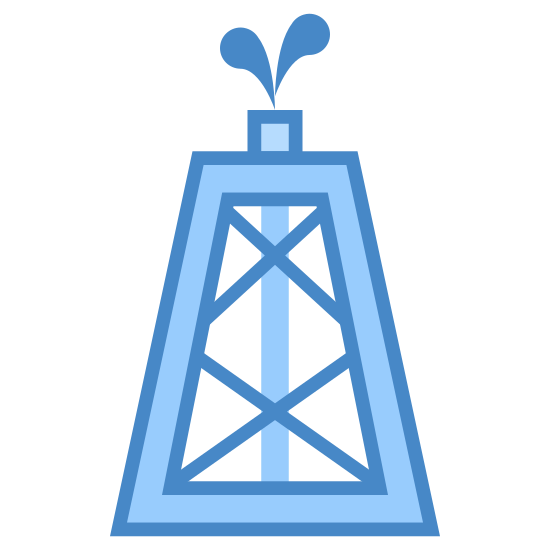Oil Rig icon. There is a rectangle with a zig zag design with a line right in the middle. The line goes right up to the top where some droplets of liquid is coming out of it.