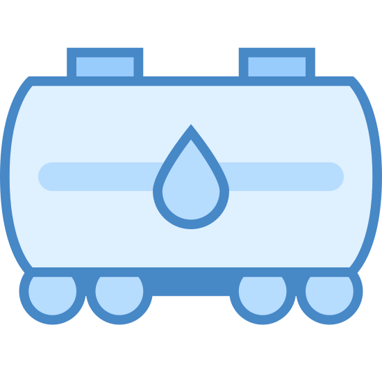 Transport ropy naftowej icon. This looks like a cylinder on its side. There's a water droplet on the cylinder. There's a long rectangle along the bottom of the cylinder. There's four circles on the bottom of the rectangle.