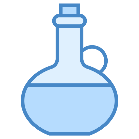 Olive Oil icon. There is a round jug with a slim neck and wide bottom. The jug has a handle on the right, a stopper in the top, and is half full.