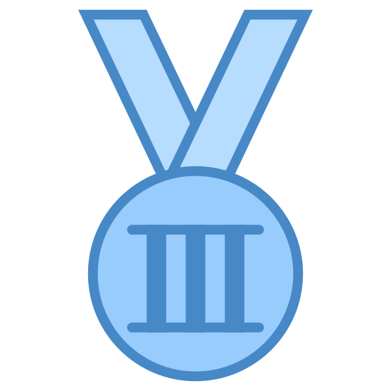 Bronze Medal icon. This icon is showing an Olympic medal that one would wear around their neck. It shows a large circle with a smaller circle inside of it. Inside both circles is the roman numeral three, which would indicate a medal for third place. On top of the circles are straight, crooked lines, indicating the strap one would wear around their neck.