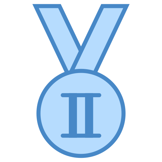 Srebrny Medal Olimpijski icon. This icon represents a medal for silver in the Olympics. There is a medal on a ribbon that is made up of two circles with the roman numeral II in the center.
