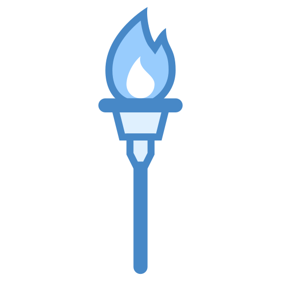 Olympic Torch icon. This logo is shaped like a torch with a fire burning on the top.  In the middle of the fire there are dark colors and on the outside it is white.  There is a grip on the torch so that someone can hold it easily.
