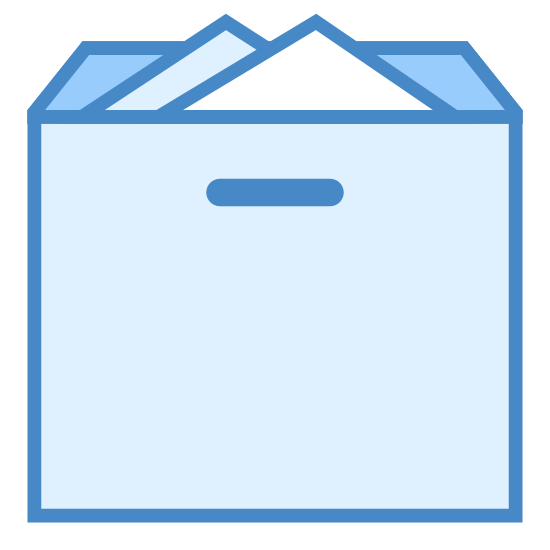 Open Box icon. This icon has an shape that looks just like a cardboard box with opened flaps at the top. There are two triangle shapes that are sitting inside of the open box.
