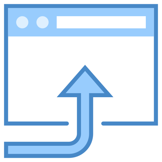 Open in Browser icon. This is a picture of a browser window. It's blank for the most part, and on top has a bar with two black circles and a rectangular bar on the right side of that. There is a large curved arrow pointing into the box, pointing upwards.