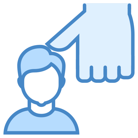 Ucisk icon. The icon is an outline of a man's head with an outline of a man's hand. The thumb of the hand is pressing down onto the top of the head.
