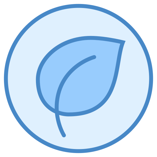 Comida Orgânica icon. Logo is a complete circle. Inside of the circle is one single leaf used to represent that the food is natural. The leaf also represents that the food does not contain any processed ingredients.