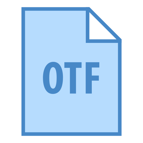 OTF icon. This icon represents OTF. It is rectangle shape that has the right hand top folded over to include a triangle shape there. The middle of the shape has the letters OTF centered towards the bottom.