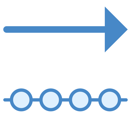 Outgoing Data icon. This is a photo of an arrow pointing to the right on the top, and below that, a line with three circles going through it. Each shape is the same length.