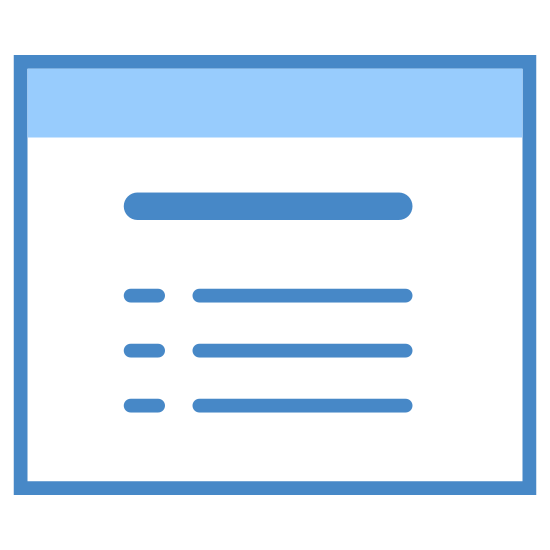 Bulleted List icon. A picture of a simplified version of a web page. There is an empty space at the top for a URL. There are blocked lines in it to represent the contents of the page.