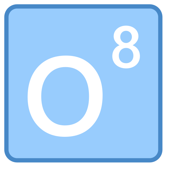 """Oxygen icon. This icon is simply the letter """"O"""" centered inside a square shape. The square shape enclosing the """"O"""" has rounded corners. The width of the letter is approximately one third the width of the square."""