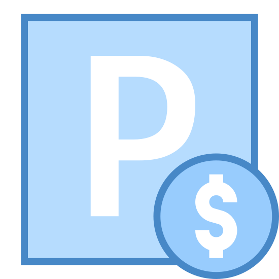 Paid Parking icon. This is an image of a square sign. Inside of the sign, at its center, is the capital letter P. On the bottom right corner of the sign, extending slightly outwards, is a circle. Inside of the circle there is a dollar sign.