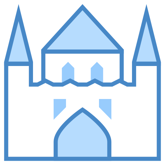 Palace icon. The icon is depicting a castle or palace of some kind. The palace is symmetrical with an archway in the middle and five turrets with a prominent tower in the middle. There are two windows on the palace.