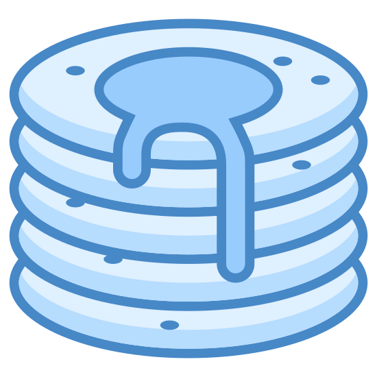 Naleśnik icon. This looks like a stack of four pancakes. There is a puddle of syrup on top of the pancakes, dripping down the side.