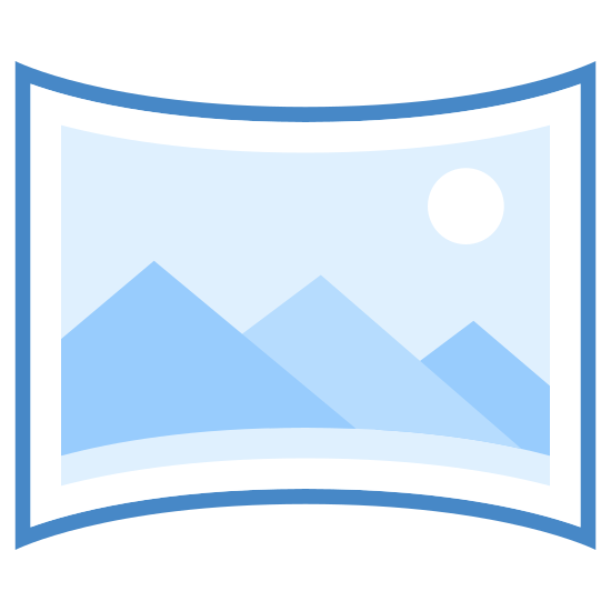 Panorama icon. A segmented screen or divider-type object curves slightly forward at the outer edges and gently bends into a semi-circular shape. The screen is separated into three separate sections, with a wider segment in the center and two thinner divisions on each side.