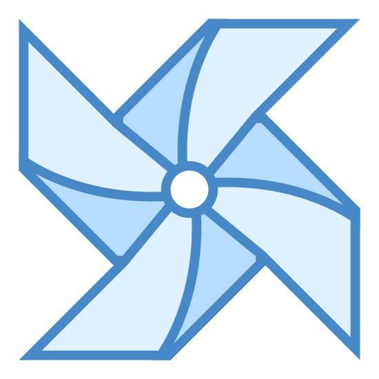 Wiatrak z papieru icon. This image represents a paper windmill. There are four triangles touching tips in the center of the image with a slightly curved and smaller triangle on top of each of the main four.