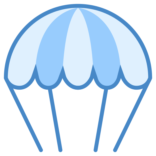 Spadochron icon. A parachute icon has a shape that is the top half of a circle, and it looks similar to an umbrella. The parachute will also have little strings that come out of it because the strings are connected to the person and the actual parachute.