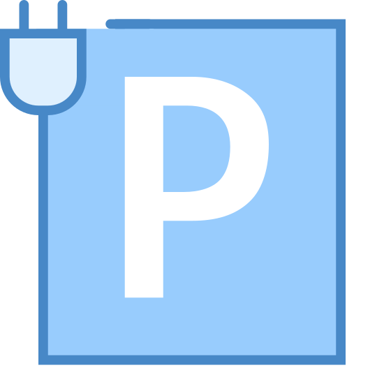 Parkuj i ładuj icon. There an uppercase letter P, that's inside a square box that looks like a cord. The square box itself looks life a power cord, with a uppercase letter Pin the center of the box