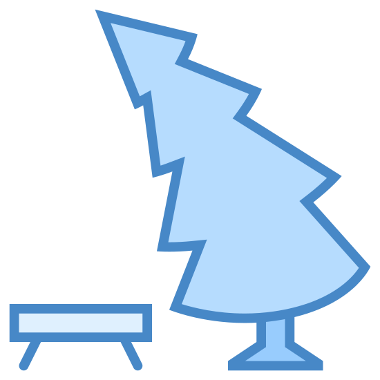 Parkbank icon. This icon is a small rectangle connected to two slanted lines, the left line slanting left and the right slanting right. To the right of this shape of a bench is a tree, with four curved triangle stacked on top of each other, and the whole tree is slanted to the left and is top heavy. There are two curved lines at the bottom of the tree representing the trunk.