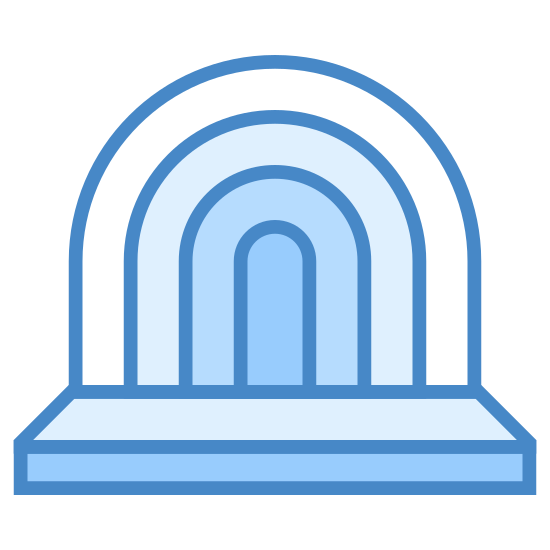 Muszla koncertowa w parku icon. This shape has a rectangle on the bottom which is split into two horizontally. The bottom is slimmer than the top. On top of it are 4 curved lines starting from the right and ending on the left of the rectangle like a rainbow.