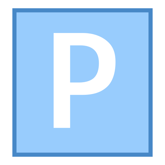 Parking icon. There is a square with rounded edges. Inside said square there is a large capitalized letter P. This would be like the signs in a parking grange