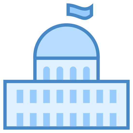 Parliament icon. The icon is a small version of a larger building. The base is a rectangle, with eighteen shaded rectangles inside of it, representing windows. A half circle forms a dome and atop the dome is a small flag.