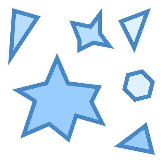 Cząstki icon. The image has a variety of misshapen objects arranged close together. There are three triangles with sides of varying lengths, one large star shape with six points, one small star shape with four points, and one small hexagon.