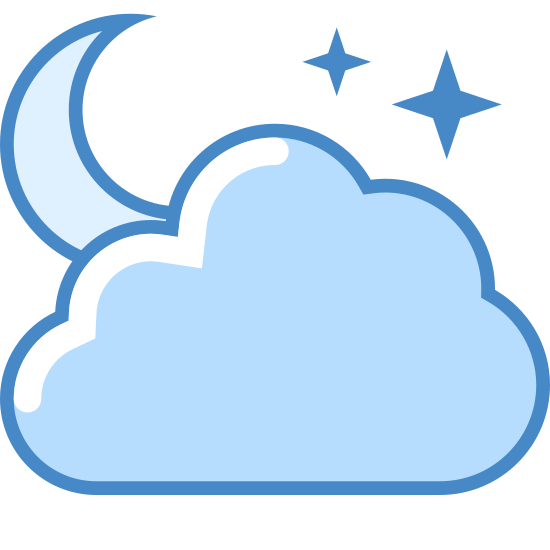 Częściowe zachmurzenie (noc) icon. This is a logo of a cloud made of three rounded circles. On top of the cloud is part of a gibbous moon. To the left of the moon are two cross shaped stars, one bigger than the other.