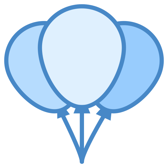 Balony imprezowe icon. The icon is made up of three balloon-shaped circles. There is a foremost balloon, and one slightly higher and to the right behind it, and another slightly lower and to the left behind as well. The three balloons have lines indicating strings, tied to a single point at the bottom of the icon.