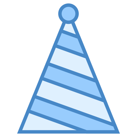 Party Hat icon. This icon represents party hat. It is a triangle with a small round circle at the top of it with four wavy lines going down the hat from side to side.