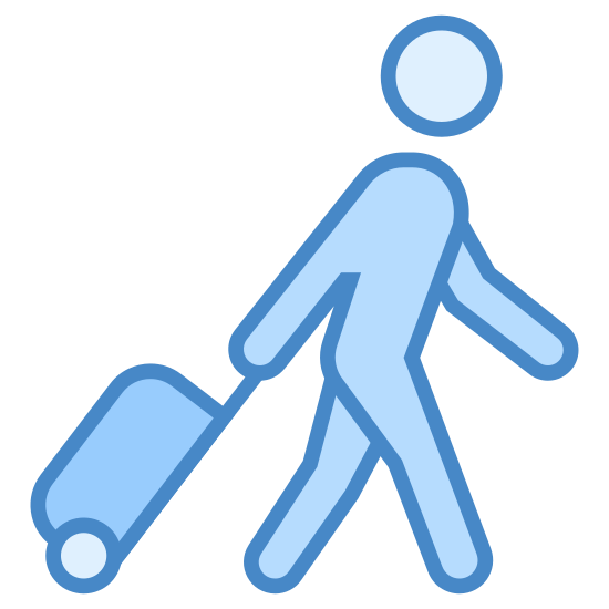 Pasażer z bagażem icon. The Passenger with Baggage icon shows the outline of a person walking while they are rolling a piece of baggage behind them.