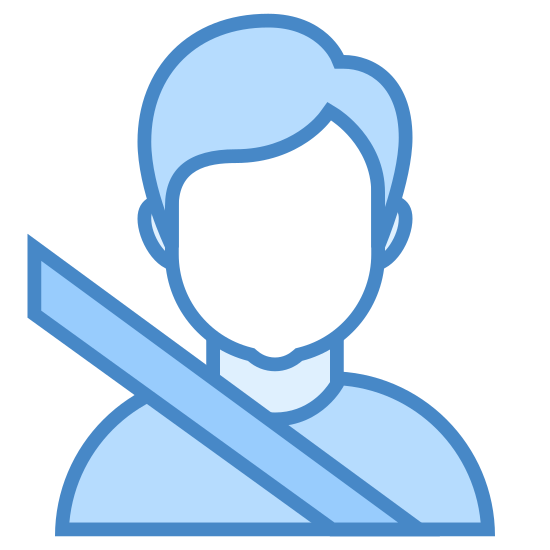Passageiro icon. A person sitting in the passenger seat of a car, facing forward. We're peering at them directly through the windshield, based on the angle of the seatbelt we can see that they have buckled.