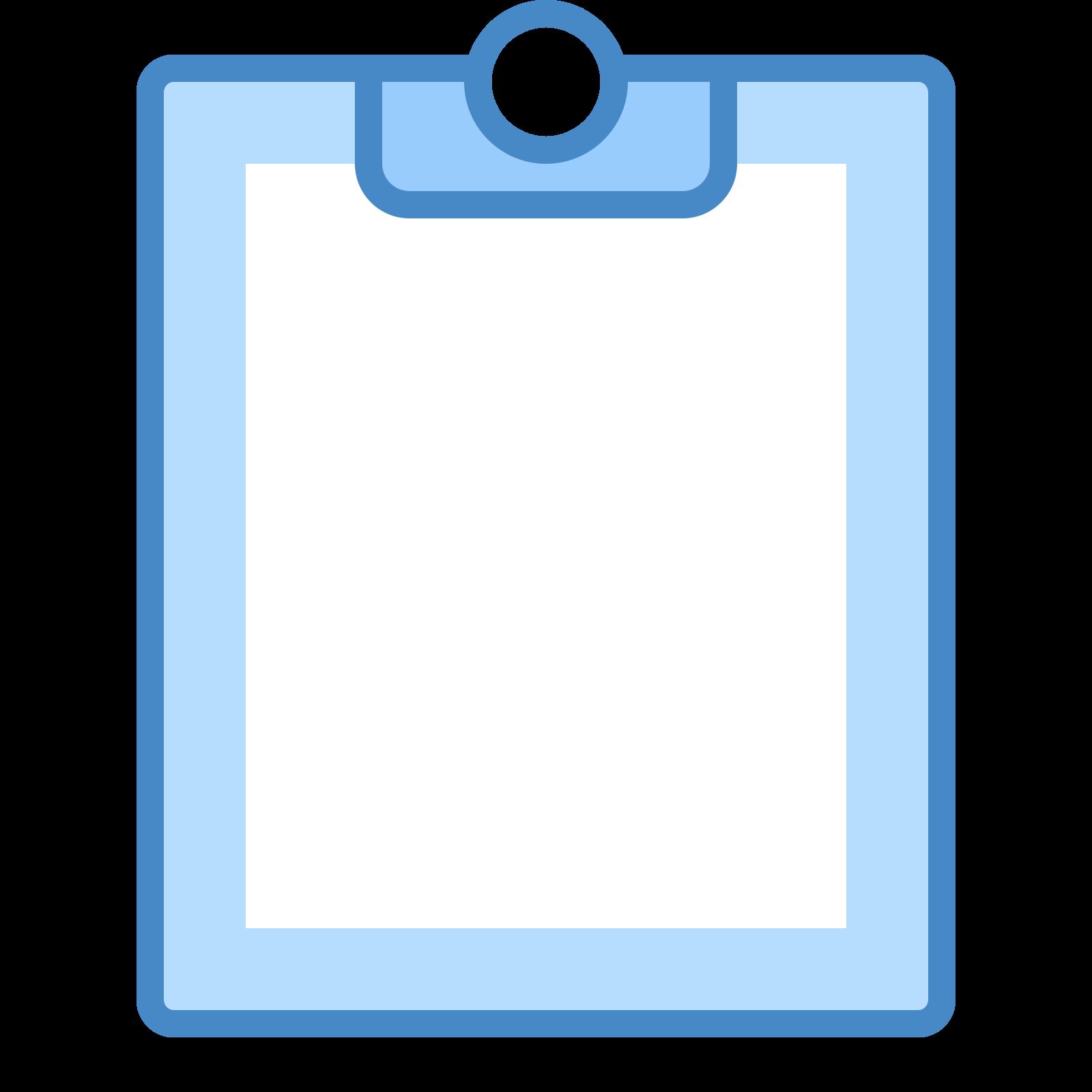 ペースト icon. This image depicts a piece of paper overlapping a clipboard. The clipboard is rectangular shaped with rounded edges, whereas the paper is a perfect rectangle with sharp edges. There are four lines of writing present on the paper.