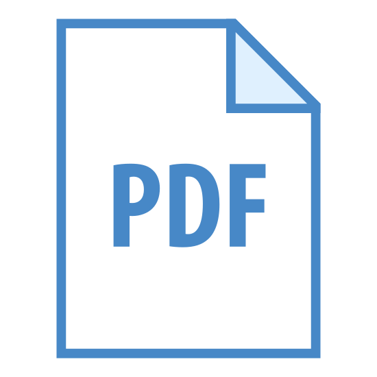"PDF icon. This is a picture of paper or note with the top right hand corner folded inwards on top of the paper. in the center are the capital letters ""PDF"". it's representing a file of some sort"