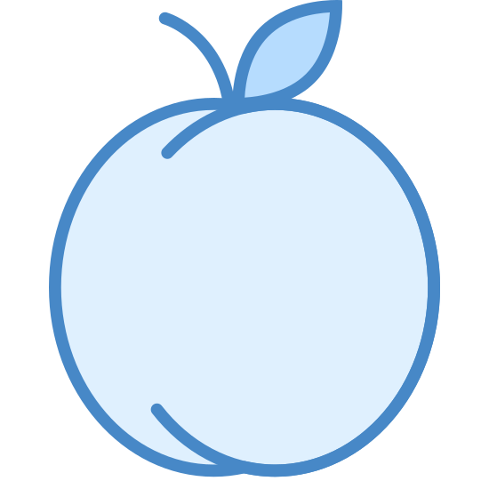 Peach icon. This image is of a peach. There are two reversed and connected C's that make up the body of the peach. There is a little stem on top.