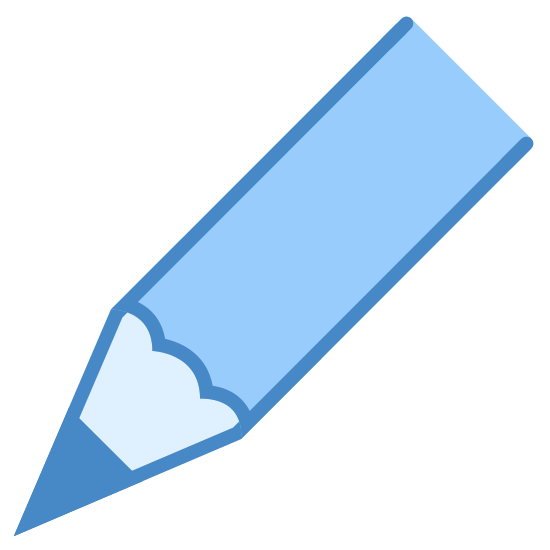 鉛筆の先端 icon. The icon is a simplified depiction of the tip of a common pencil, sharpened to a fine point. The icon starts with a shaft protruding from the upper right, eventually terminating in a sharpened point. The wood of the pencil is visible along with the graphite.