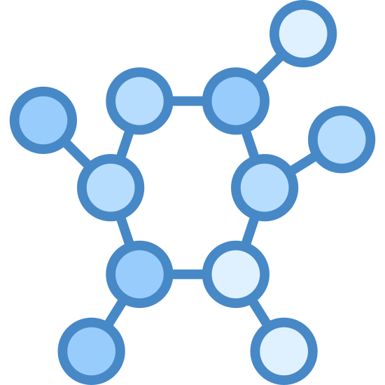 Molecule icon. The peptide logo starts with a Pentagon in the center. Out of each corner extends a line ending and starting with a circle. Each line begins the start of a new Pentagon, as shown by one extension.