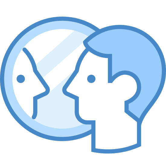 Reflection icon. This is an image of a simplified human face. The face is looking to the right at a circular object that is showing him or her a reflection of themselves.