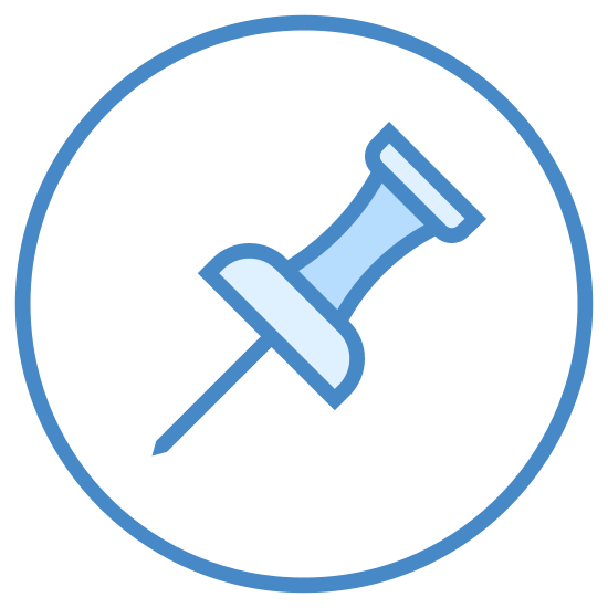Pinezka 2 icon. This is a basic icon of a push pin, the kind with the plastic part you push on and is easier pulled out.  The plastic part looks like an hourglass shape with how it narrows in the middle.  The whole push pin is tilted 45 degrees.  Around the push pin is a circle.