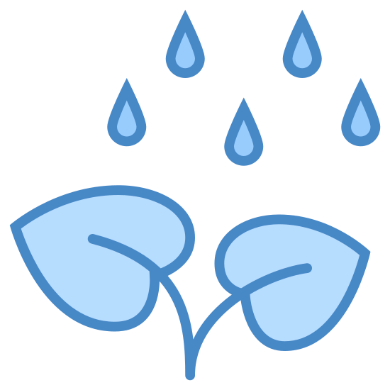 Irrigation icon. It's an icon of a growing plant with rain falling on it from above. The plant has two leaves with their stems joined, because it's one plant, and three water droplets are falling toward the leaves.