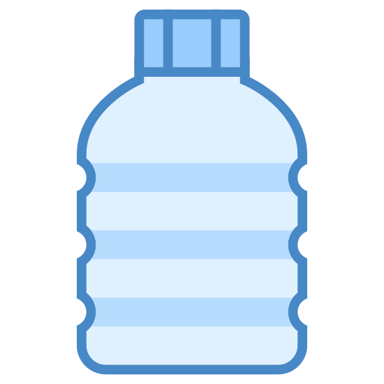 Plastik icon. This is an image of what appears to be a plastic bottle.  The bottle is facing upwards and has three grooves in its side.  The plastic bottle also has a cap on top of it.