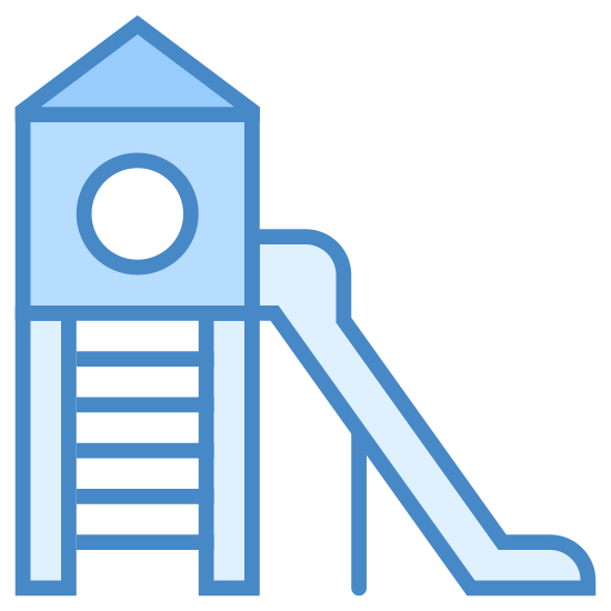Plac zabaw icon. The generic playground setup, an angled ladder leading into a small room on stilts, with a hole for children to jump out of, and a slide to carry them safely down.