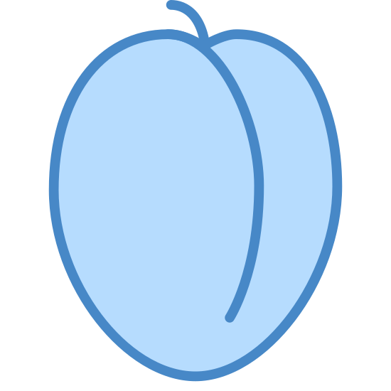 Ameixa icon. The icon is a simplified depiction of a plum. The icon is a rounded elliptic shape with a light invagination from the top toward the bottom. The stem is also visible, a very short protrusion from the top.. The icon represents a plum or similar pitted fruit.