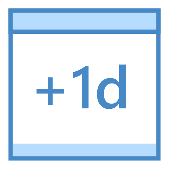 Plus jeden dzień icon. The icon is depicting a calendar that is rectangular with sharp edges and a line dividing the top portion from the bottom. In the center of the object is written plus one 'd' indicating plus one day on the calendar.