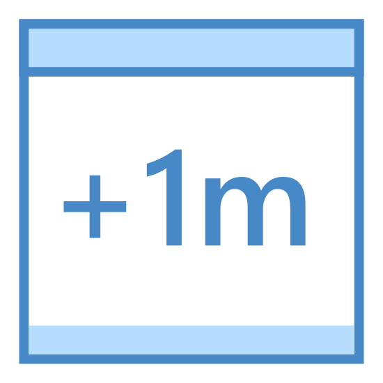 Plus 1 Month icon. This is an icon representing plus one month. It has a calendar made up of two differently sized rectangles. There are two small rectangles on the top of the calendar where the rings would be and it has + 1m written in the center.