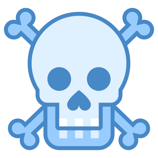 Poison icon. It is an icon of a skull the two bones in an x. The skull has blank eyes with a upward arrow as a nose. There are three squares for teeth. The skull is overlapping with the bones behind it.