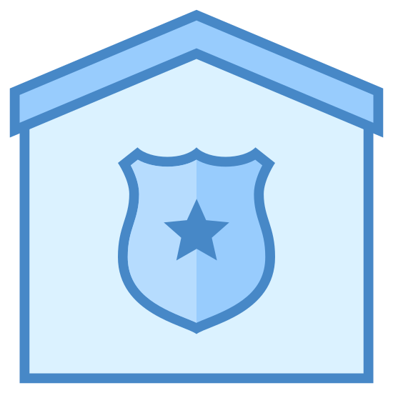 Police Station icon. This logo is shaped like a house with a roof on the top that goes up to a point but not at a sharp angle.  In the base there is a shield with a star in the middle.  It is all black and white.