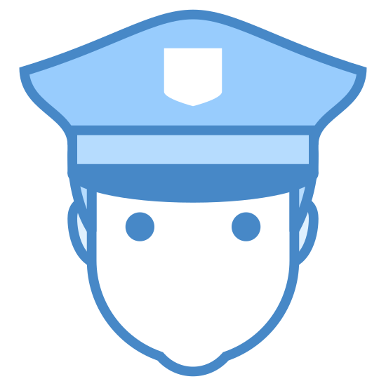 Police icon. The icon is consists of an androgynous humanoid head, wearing dark sunglasses. The icon wears a hat reminiscent of a simplified police officer hat, with small badge and visor visible. The icon is representative of a male police officer.