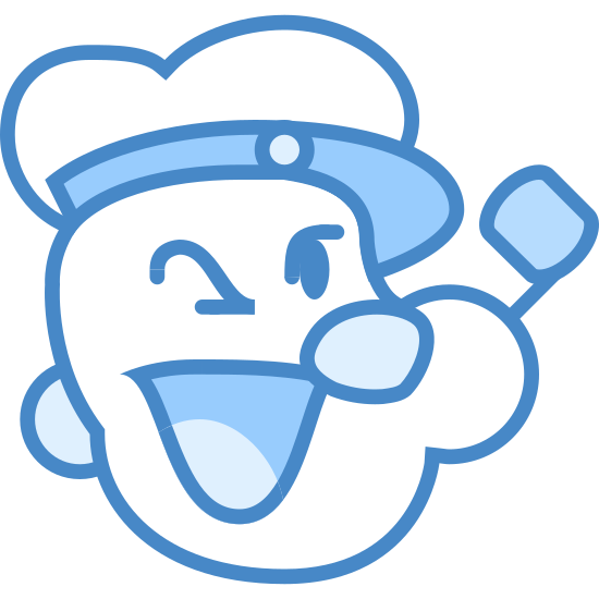 Popeye icon. It's an icon for the famous cartoon character Popeye. It depicts an outline of his face with his trademark grin and pipe.