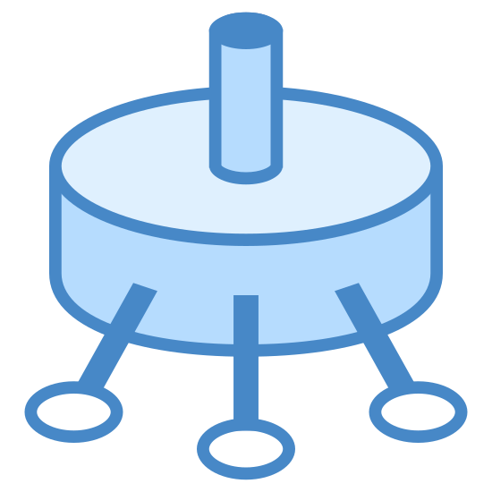 Potentiometer icon. There is a circular shape lying down, and it has a smaller cylinder going directly into the center of it. Coming out of the circular shape on the adjacent side are three more small cylinder objects protruding.