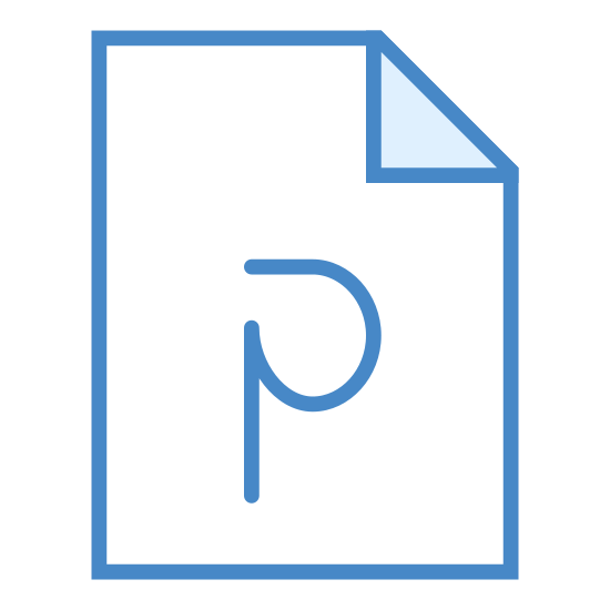 PowerPoint icon. It's a letter P with a small section of the straight line in the upper left missing.  The stylized P is on a modified rectangle that is drawn to look like a sheet of paper with the upper right corner creased and folded forward onto itself.  The P is centered from left to right, and closer to the bottom of the page than the top.